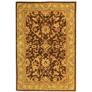 Safavieh Handmade Anatolia Oriental Traditional Brown/ Tan Hand-spun Wool Rug (4' x 6')
