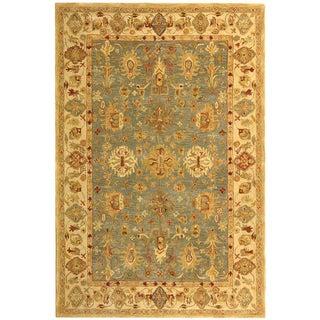 Safavieh Handmade Anatolia Oriental Heirloom Blue/ Ivory Hand-spun Wool Rug (5' x 8')