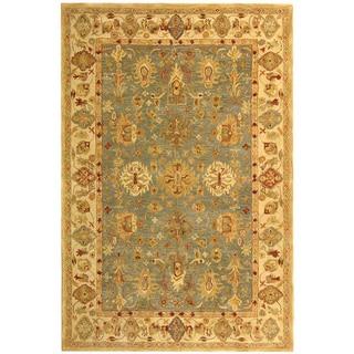 Safavieh Handmade Anatolia Oriental Heirloom Blue/ Ivory Hand-spun Wool Rug (4' x 6')