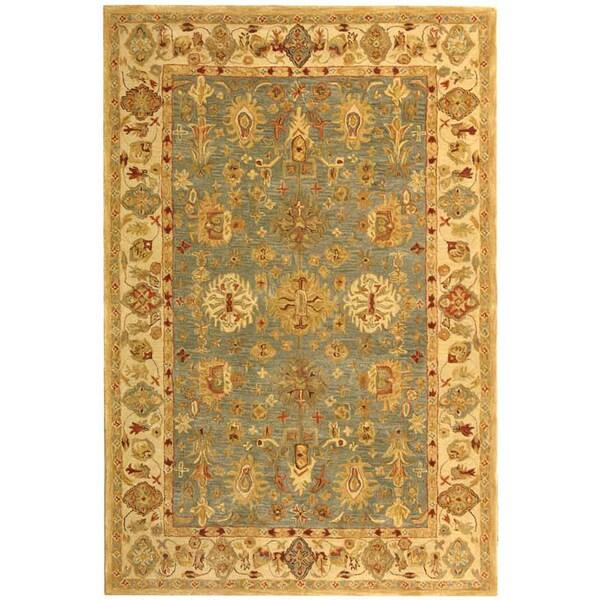 Safavieh Handmade Anatolia Heirloom Blue/ Ivory Wool Rug (4' x 6')