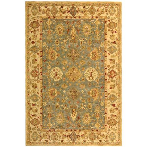 Safavieh Handmade Anatolia Oriental Heirloom Blue/ Ivory Hand-spun Wool Rug (6' x 9')