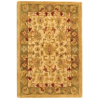 Safavieh Handmade Anatolia Oriental Heirloom Ivory/ Light Green Hand-spun Wool Rug (2' x 3')