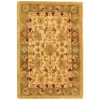 Safavieh Handmade Anatolia Oriental Heirloom Ivory/ Light Green Hand-spun Wool Rug - 2' x 3'
