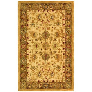 Safavieh Handmade Anatolia Oriental Heirloom Ivory/ Light Green Hand-spun Wool Rug (3' x 5')