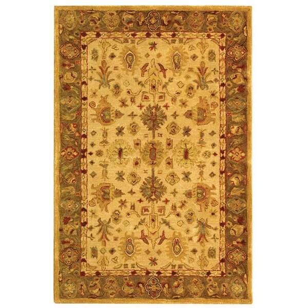 Safavieh Handmade Heirloom Ivory/ Light Green Wool Rug (4' x 6')