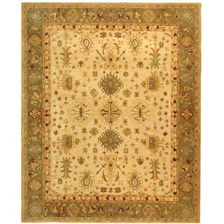 Safavieh Handmade Anatolia Oriental Heirloom Ivory/ Light Green Hand-spun Wool Rug (8' x 10')