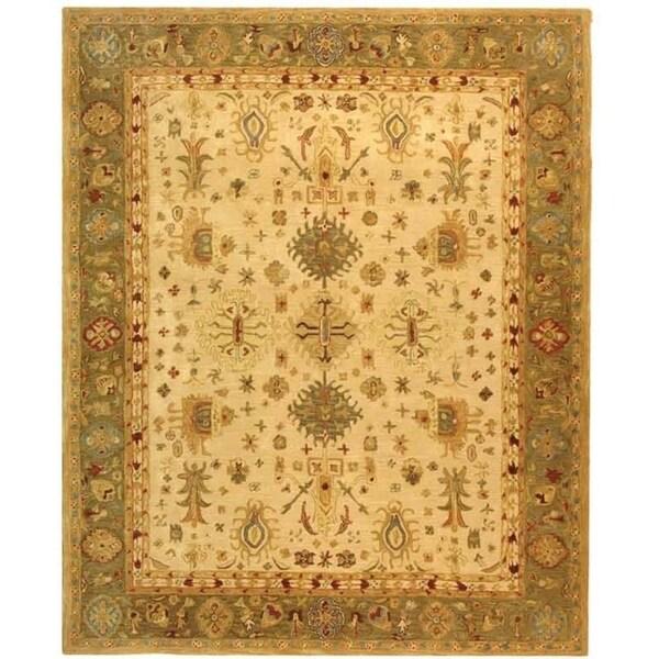 Safavieh Handmade Anatolia Oriental Heirloom Ivory/ Light Green Hand-spun Wool Rug - 8' x 10'