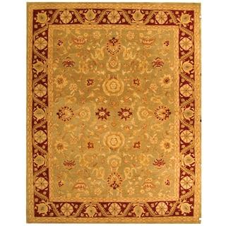 Safavieh Handmade Anatolia Oriental Kashan Green/ Red Hand-spun Wool Rug (9'6 x 13'6)