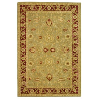 Safavieh Handmade Anatolia Oriental Kashan Green/ Red Hand-spun Wool Rug (6' x 9')