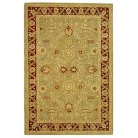 Safavieh Handmade Anatolia Oriental Kashan Green/ Red Hand-spun Wool Rug - 6' x 9'