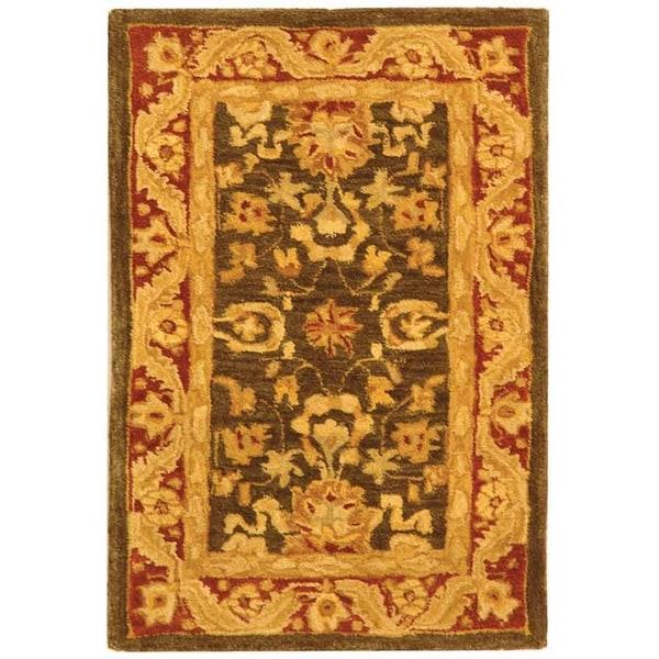 Safavieh Handmade Anatolia Oriental Kashan Charcoal/ Red Hand-spun Wool Rug (2' x 3')