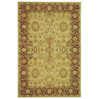 Safavieh Handmade Anatolia Oriental Mashhad Ivory/ Red Hand-spun Wool Rug (8' x 10')