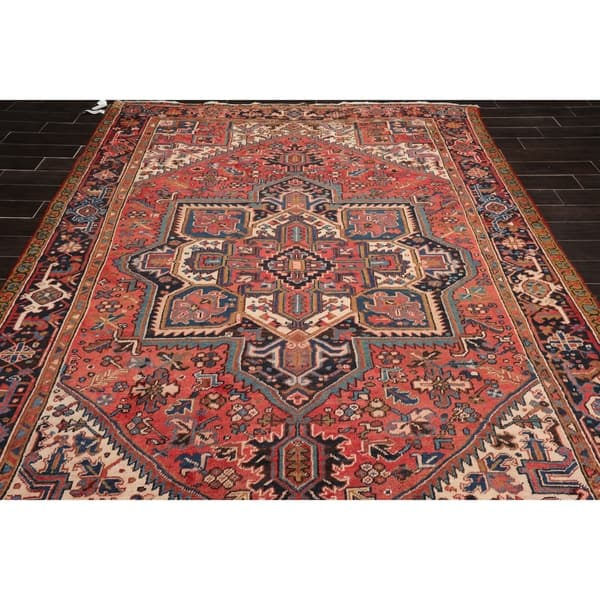 Antique Heriz Hand Knotted Apricot Ivory Wool Persian Oriental Area Rug 8x10 07 06 X 11 01 On Sale Overstock 31030080