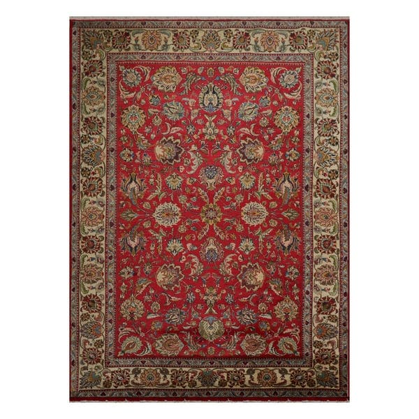 Tabriz Hand Knotted Red Ivory Wool Persian Oriental Area Rug 9x12 08 04 X 12 00 On Sale Overstock 31030089