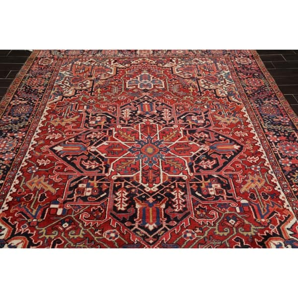 Heriz Hand Knotted Rusty Red Black Wool Persian Oriental Area Rug 8x10 07 09 X 10 09 Overstock 31030093
