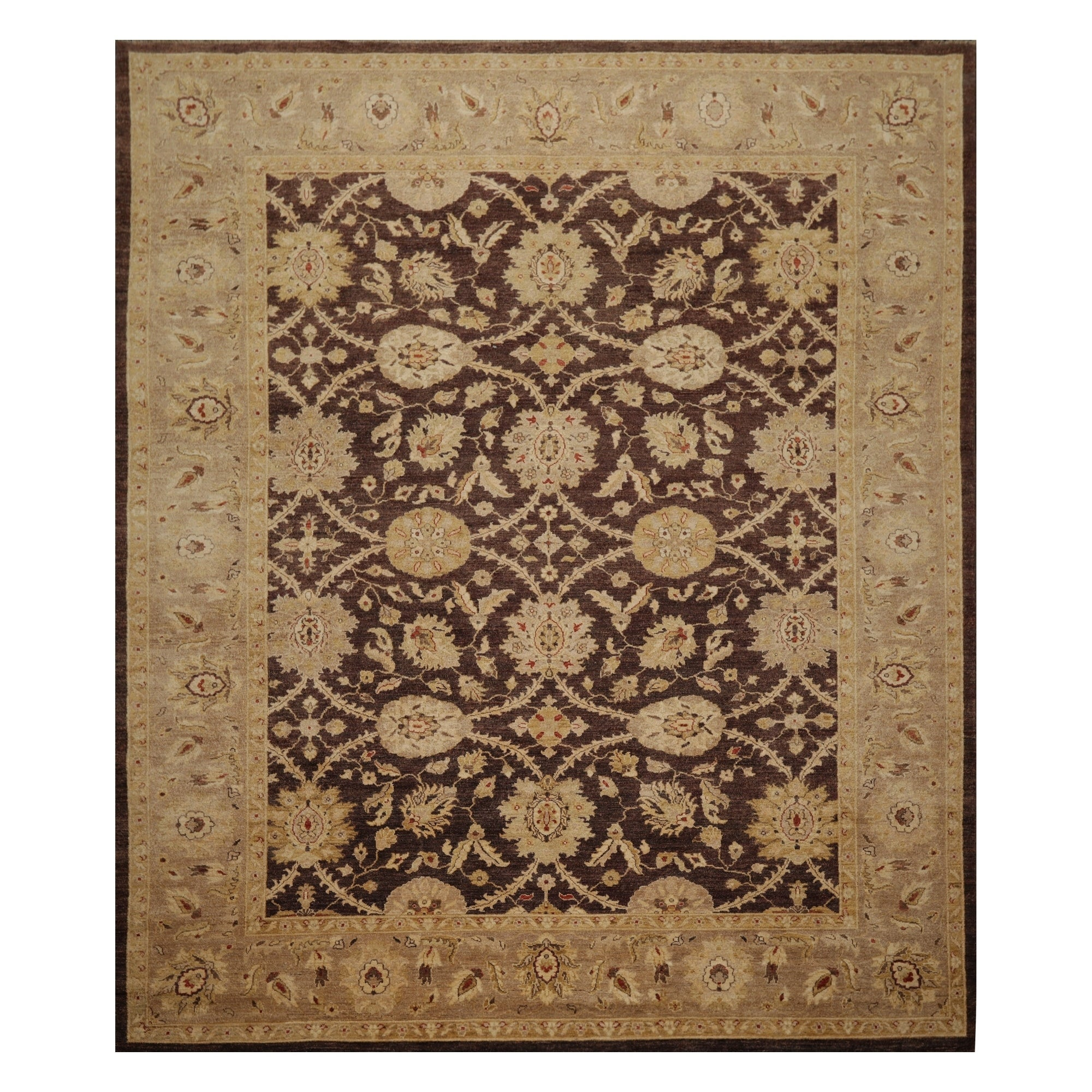 Peshawar Hand Knotted Brown Tan Wool Persian Oriental Area Rug 9x12 08 09 X 11 06 On Sale Overstock 31030097