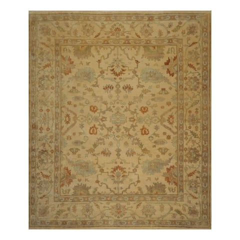 Oushak Hand Knotted Warm Beige,Sage Wool Persian Oriental Area Rug (9x12) - 08' 10'' x 11' 06''