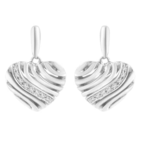 Sterling Silver Heart Diamond Accent Puff Earrings (I-J, I1-I2)