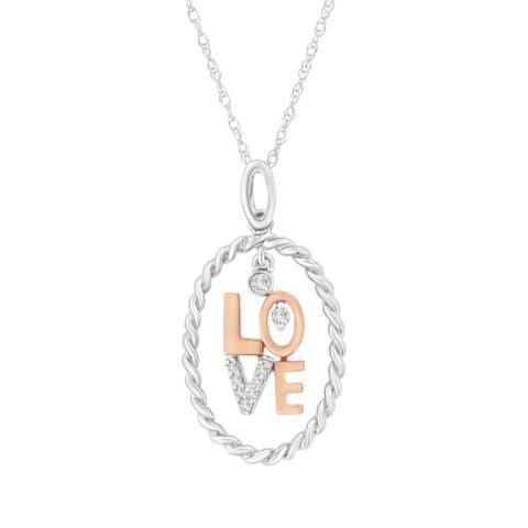 14K Two-Tone Gold Diamond Accent Love Pendant Necklace(J-K, SI2-I1)