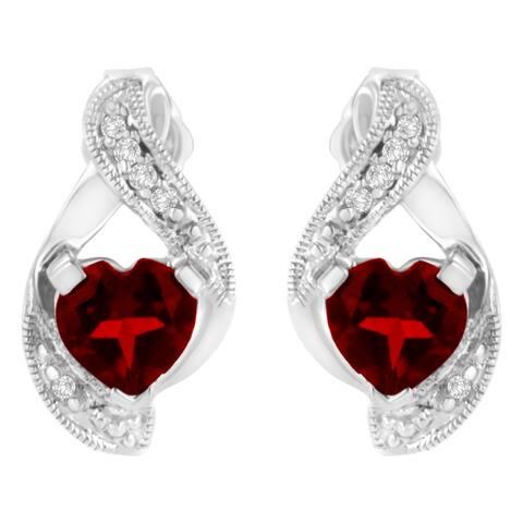 14K White Gold 6x6mm Created Red Heart Garnet and Diamond Accent Earrings (I-J, I1-I2)