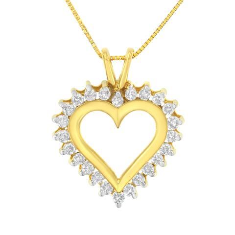 10K Yellow Gold 1/2 ctw Diamond Open Heart Pendant (J-K, SI2-I1)