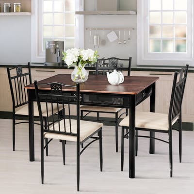 5 Piece Dining Set Wood Metal Table and Chairs Kitchen Furniture