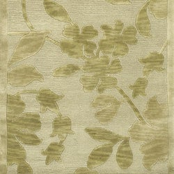 Hand-knotted Green/Beige Floral Karur Semi-Worsted Wool Runner Rug (2'6 x 10') - Thumbnail 1