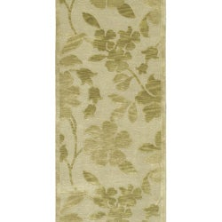 Hand-knotted Green/Beige Floral Karur Semi-Worsted Wool Runner Rug (2'6 x 10') - Thumbnail 2