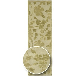 Hand-knotted Green/Beige Floral Karur Semi-Worsted Wool Runner Area Rug - 2'6 x 10' - Thumbnail 0