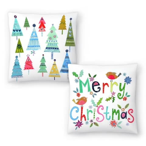 Merry Christmas Robins and Christmas Trees Collage Set of 2 Decorative Pillows