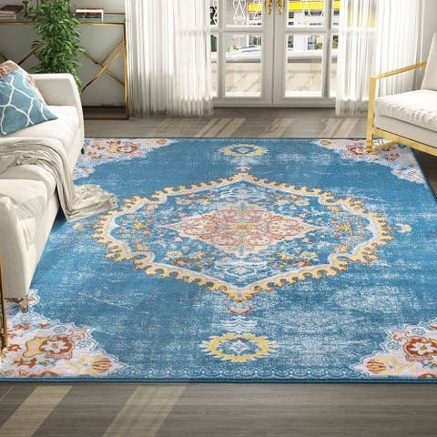 Modern & Contemporary Area Rugs Different Sizes Rugs Deep Blue