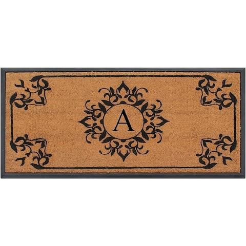 A1HC- Designer Hand-Crafted Rubber Coir Molded Double/Single Door Mat Monogrammed, Perfect and More Functional Size 24x48 Inch