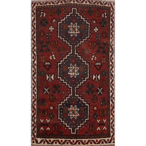 "Decorative Tribal Geometric Shiraz Persian Area Rug Handmade Carpet - 3'1"" x 4'7"""