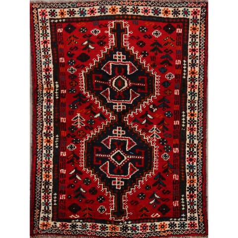 "Tribal Geometric Shiraz Persian Home Decor Area Rug Hand-Knotted - 3'5"" x 4'11"""