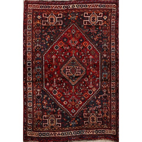 "Tribal Geometric Lori Persian Area Rug Hand-Knotted Wool Carpet - 3'8"" x 5'1"""