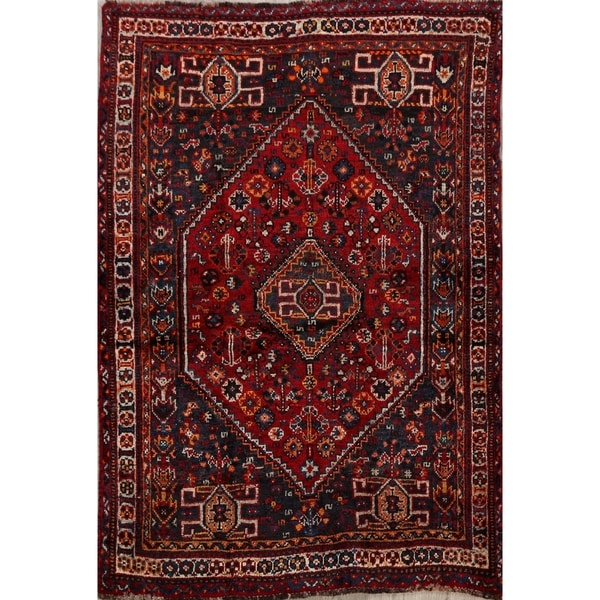 "Tribal Geometric Lori Persian Area Rug Hand-Knotted Wool Carpet - 3'8"" x 5'1"". Opens flyout."