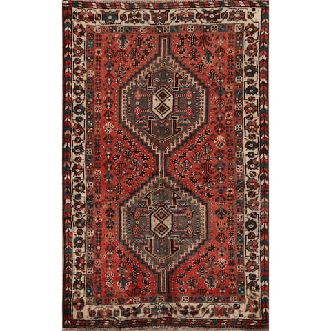 "Vintage Geometric Shiraz Persian Area Rug Hand-Knotted Wool Carpet - 3'2"" x 4'11"""