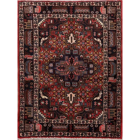 "Geometric Red Malayer Persian Area Rug Handmade Foyer Carpet - 3'6"" x 4'9"""