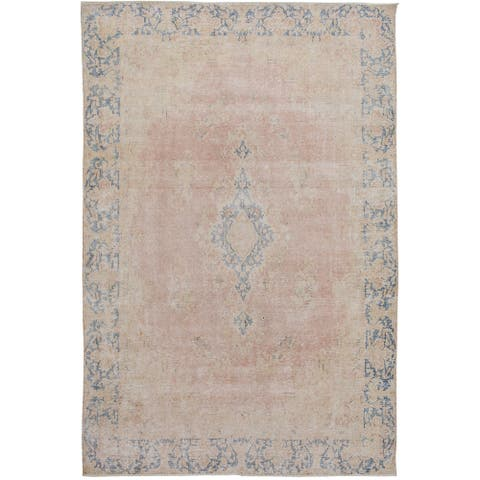 "Antique Floral Muted Kerman Persian Area Rug Handmade Wool Carpet - 6'4"" x 9'1"""