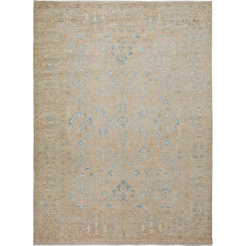 "Vegetable Dye Geometric Floral Oushak Turkish Area Rug Hand-Knotted - 9'1"" x 12'0"""