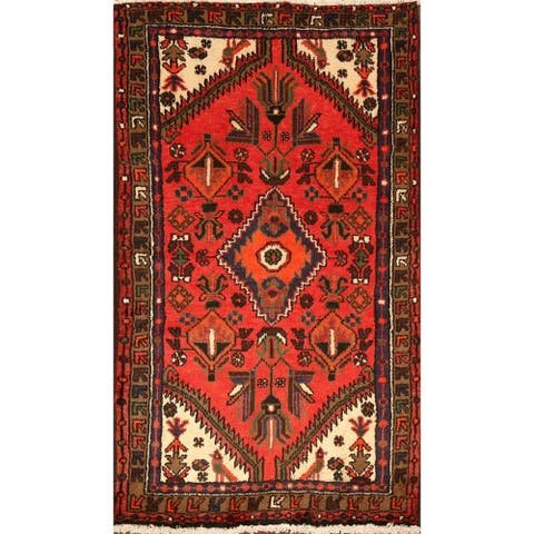 "Tribal Geometric Hamedan Persian Area Rug Hand-Knotted - 2'10"" x 4'8"""