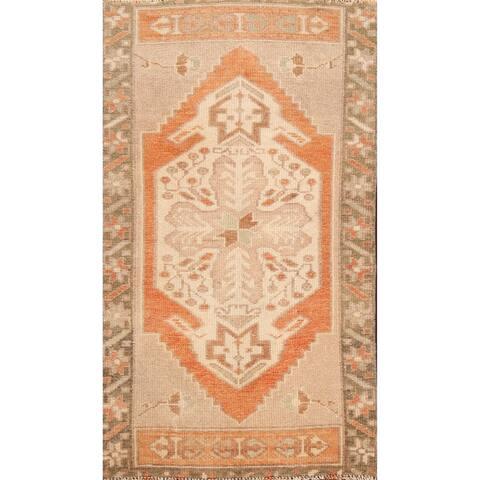 "Geometric Oushak Turkish Oriental Area Rug Handmade Wool Foyer Carpet - 1'7"" x 3'0"""