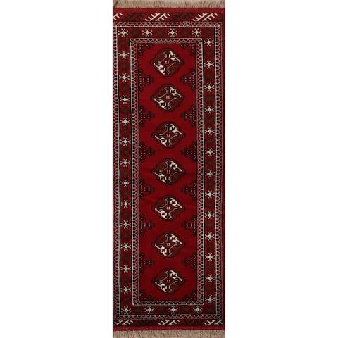 "Geometric Red Bokhara Oriental Narrow Staircase Runner Rug Handmade - 2'1"" x 6'3"""