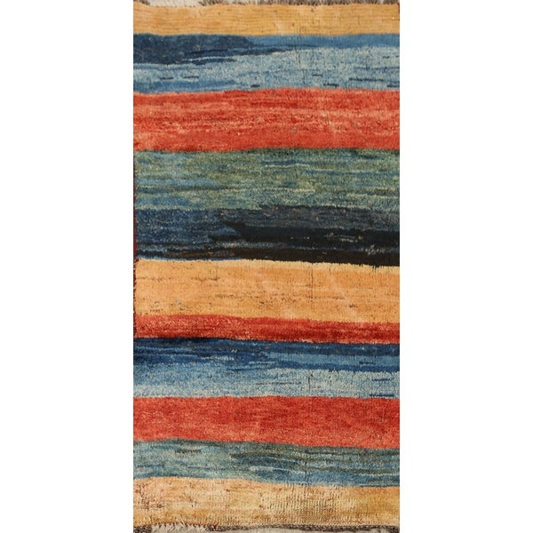 "Vintage Stripe Gabbeh Persian Kitchen Size Area Rug Hand-Knotted - 2'2"" x 4'2"". Opens flyout."