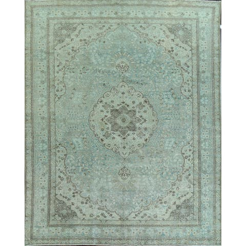 """Antique Light Blue Floral Kashan Persian Area Rug Hand-Knotted - 9'2"""" x 12'9"""""""