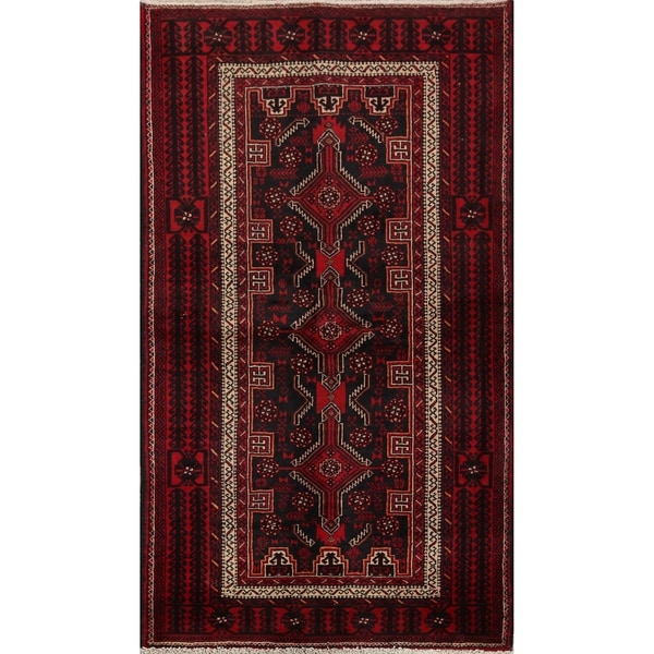 """Black Geometric Balouch Afghan Oriental Area Rug Hand-Knotted Carpet - 3'4"""" x 6'2"""". Opens flyout."""