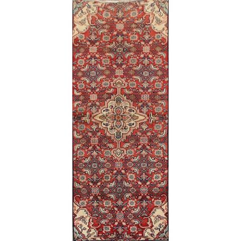 "Vintage Geometric Red Tabriz Persian Narrow Runner Rug Handmade - 2'3"" x 5'6"""