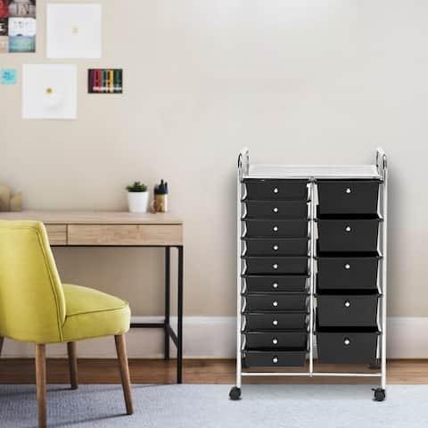 Office Utility Organizer Plastic Boxes 15-Drawer Organizer Cart
