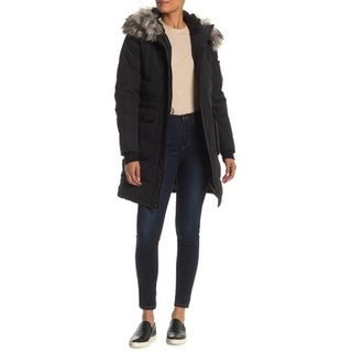 BCBGMAXAZRIA Faux Fur Trim Hooded Quilted Jacket