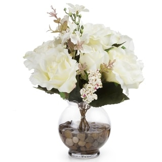 Link to Enova Home Mixed Silk Rose Flower Arrangement in Glass Vase with Faux Water and River Stone Similar Items in Decorative Accessories